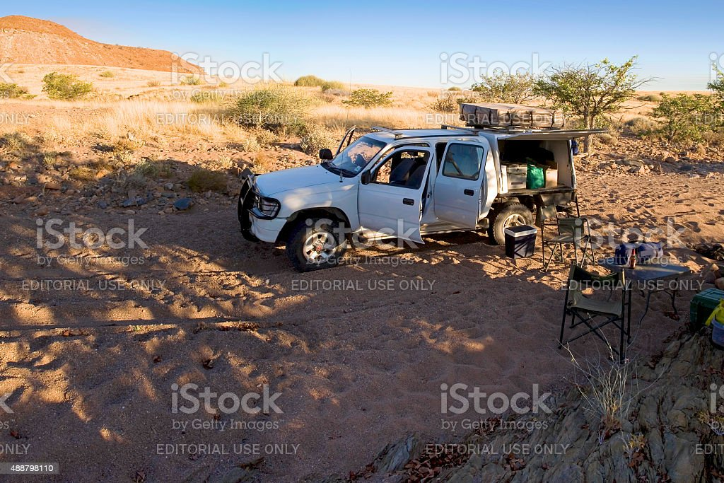 Camping on a 4X4 in the Brandberg, Namibia stock photo