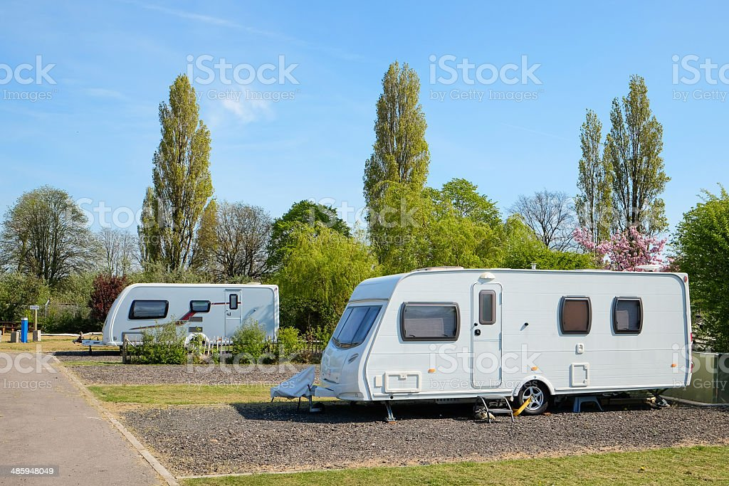 Camping on a caravan park stock photo