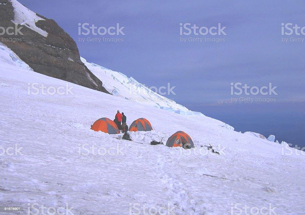 Camping on a Glacier at Mt. Rainier royalty-free stock photo