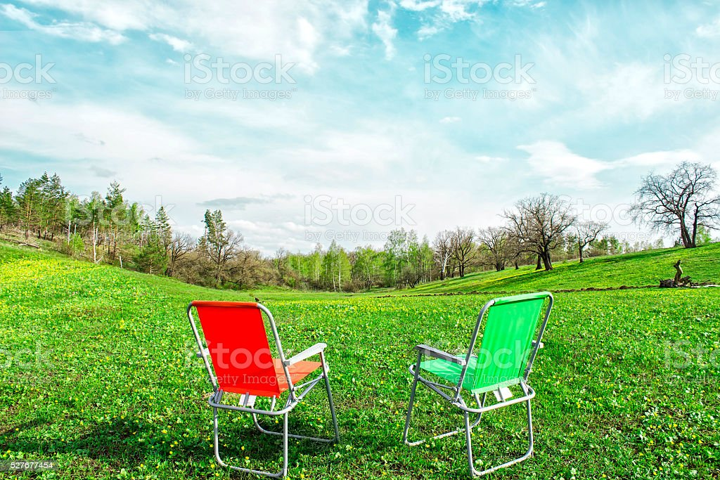 Camping on a green meadow stock photo