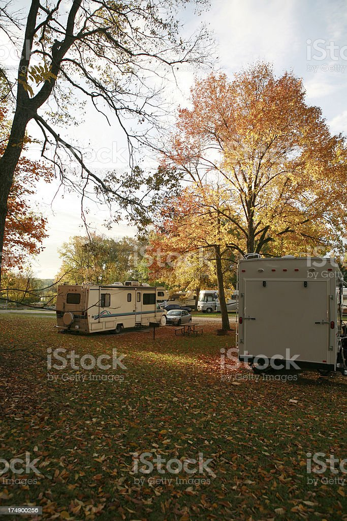 Camping on an Autumn Morn stock photo