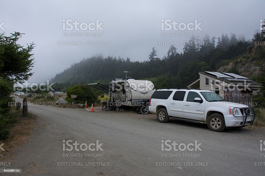 Camping on Gold Bluffs Beach Campground in California stock photo