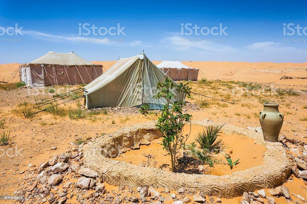 Camping on Grand Erg Oriental / Sahara desert of Tunisia stock photo