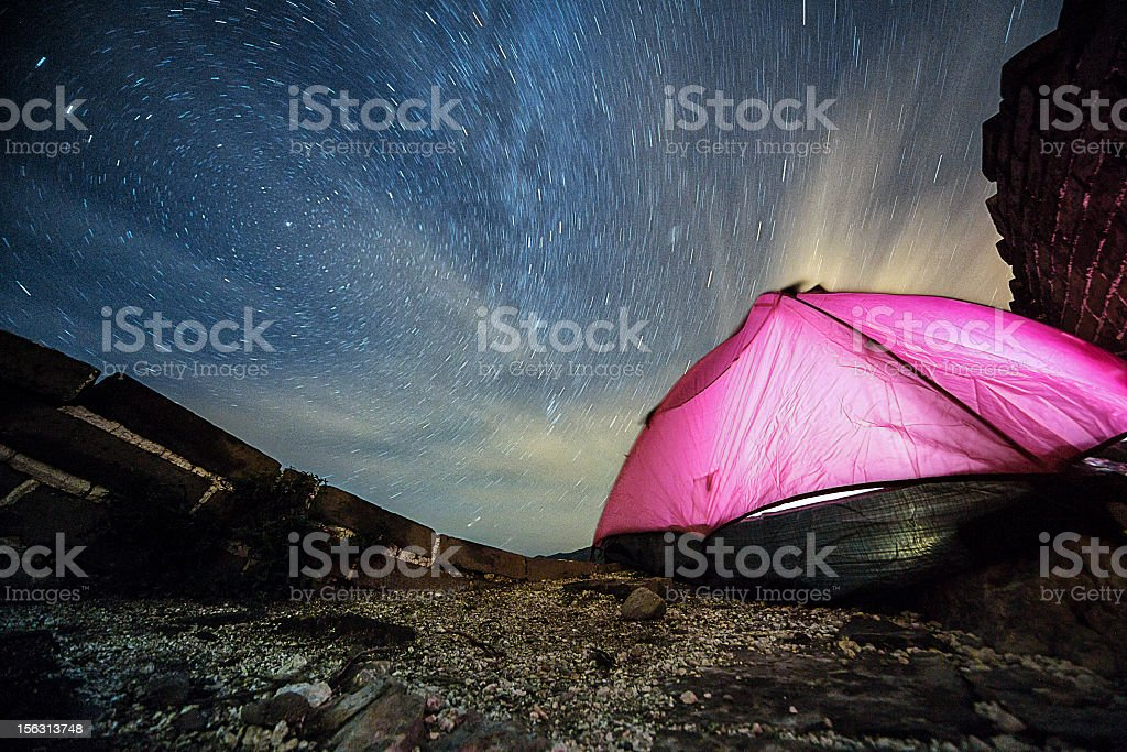 Camping on Great Wall of China stock photo