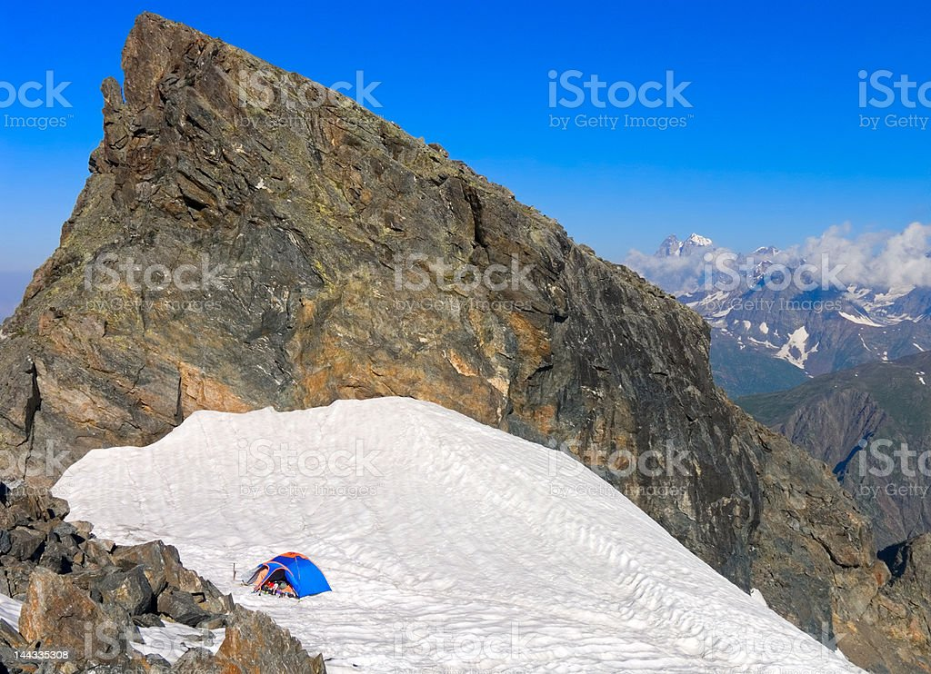 Camping on mountain pass royalty-free stock photo