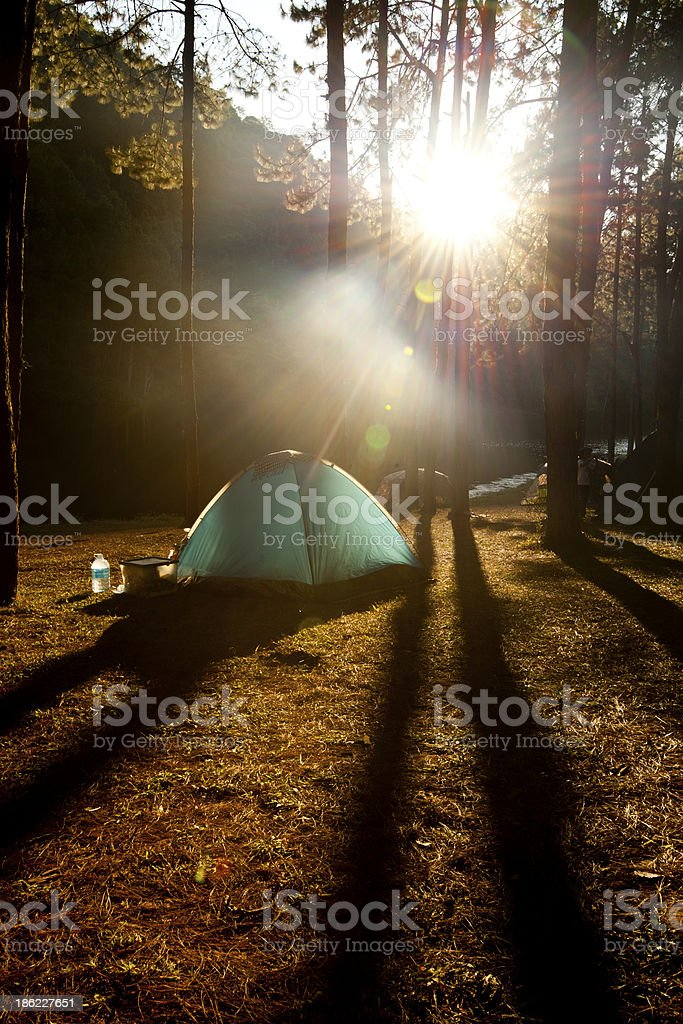 Camping on mountain royalty-free stock photo
