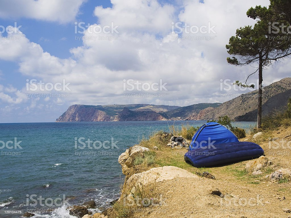 Camping on the beach royalty-free stock photo