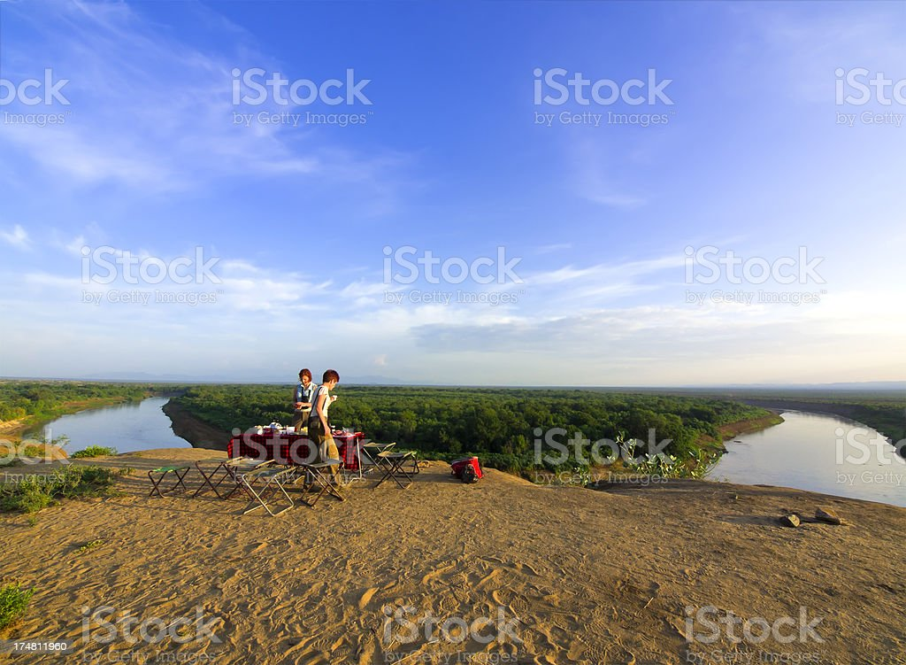 Camping on the edge of Omo river canyon, South Ethiopia. stock photo