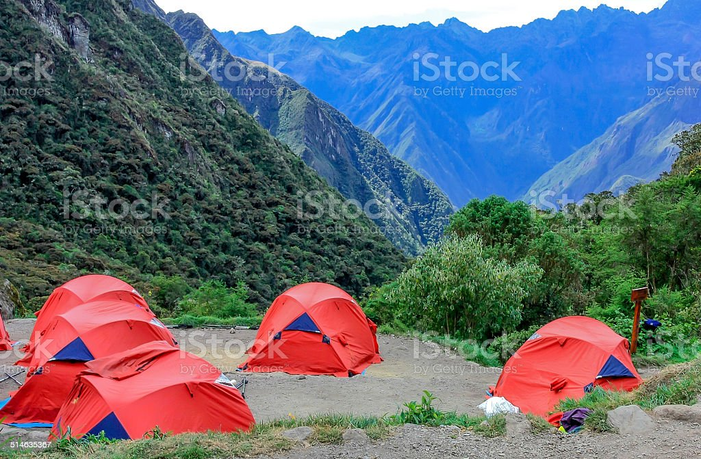 Camping on the Inca Trail stock photo