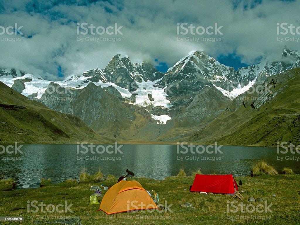 Camping place Cordillera Huayhuash royalty-free stock photo