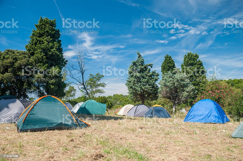 Camping point, tens stock photo