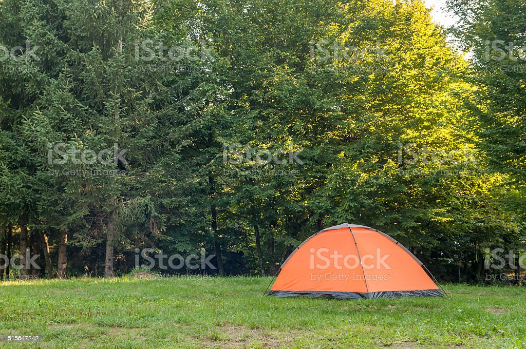 Camping point, tent stock photo