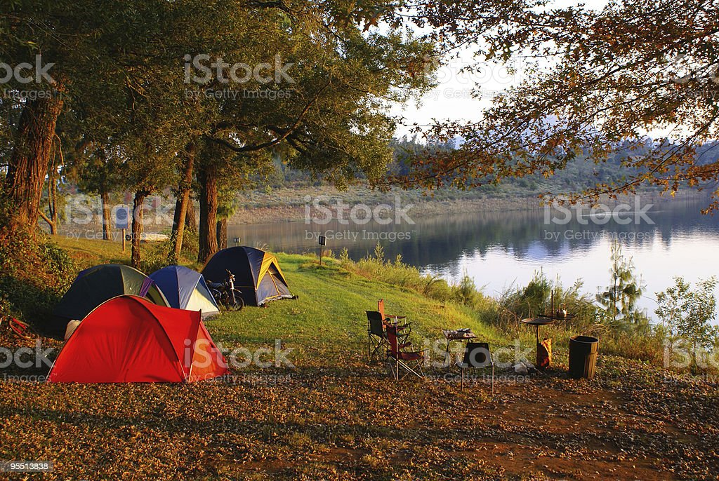 Camping site at sunset royalty-free stock photo