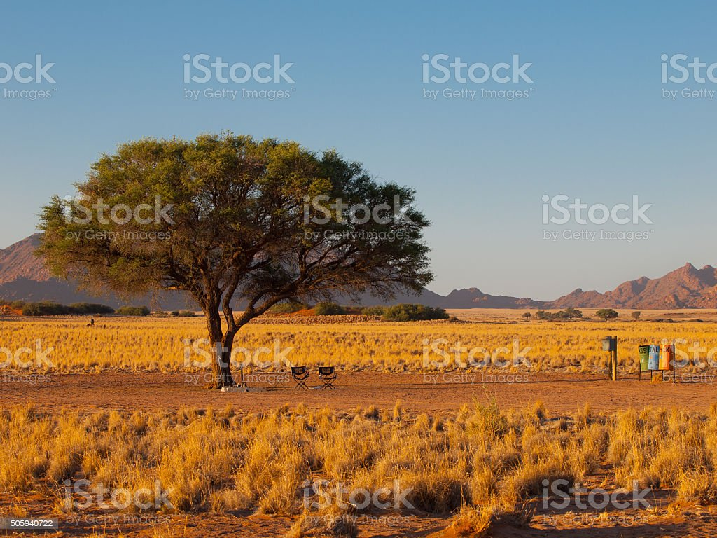 Camping site in african wilderness stock photo