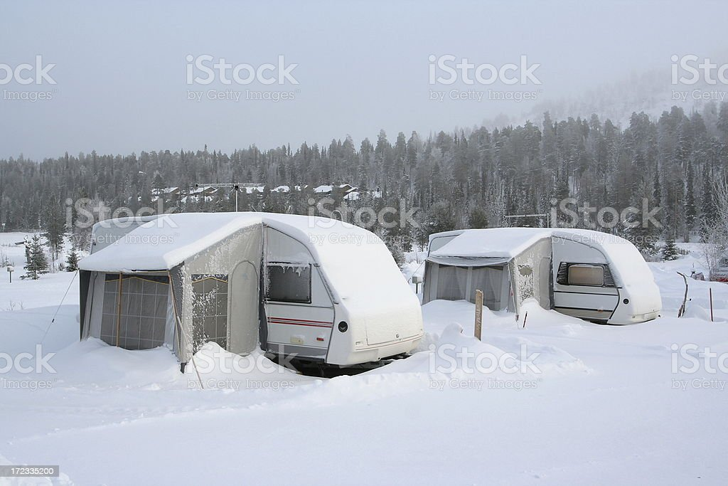 Camping site wintertime royalty-free stock photo