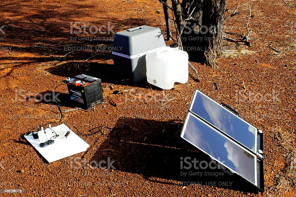 Camping solar panels installed in Australia stock photo