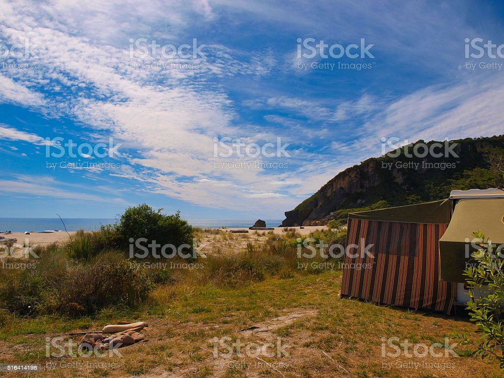 Camping spot on the beach stock photo