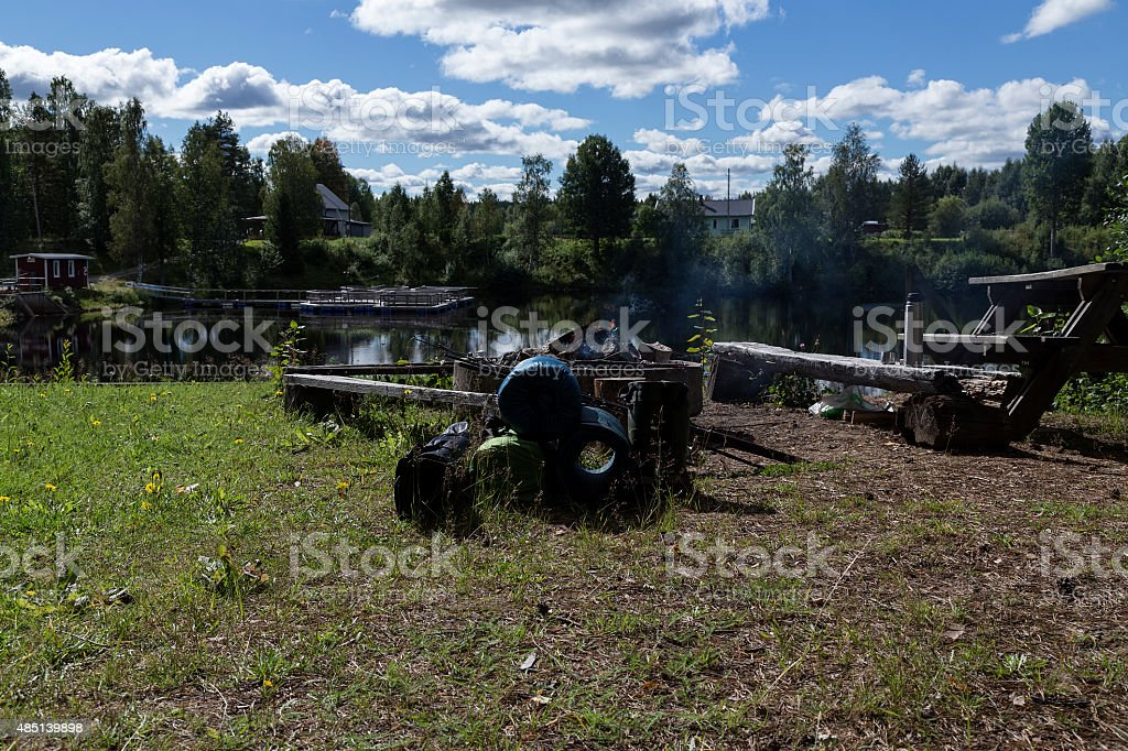 camping stuff and a river royalty-free stock photo