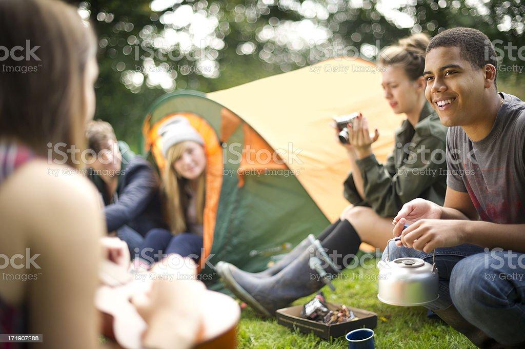 camping teens royalty-free stock photo