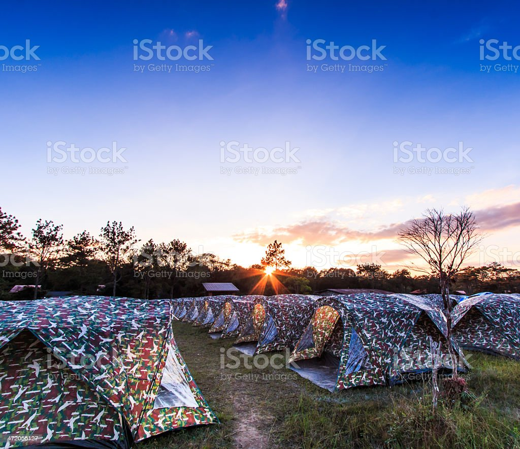 Camping Tent at sunset  phukradueng national park stock photo