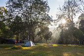 camping tent in sunshine