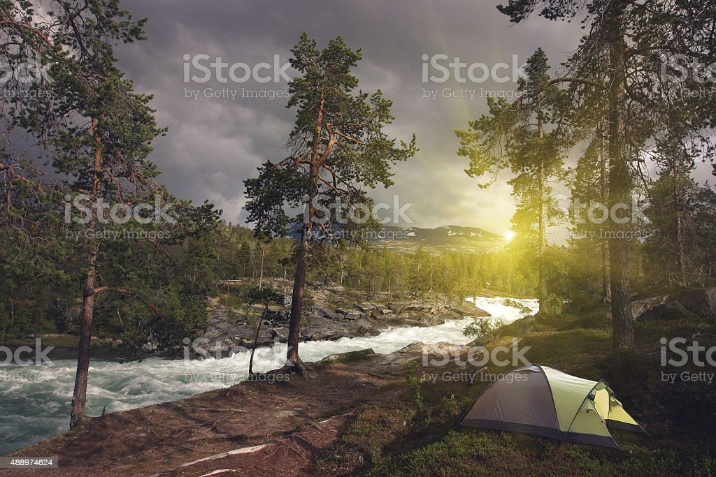 Camping tents outdoor hiking stock photo