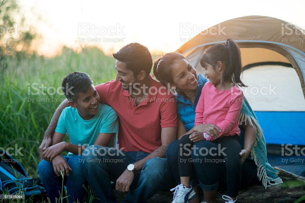 Camping Together as a Family stock photo