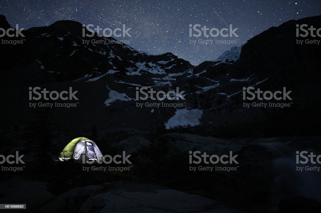 Camping under a star-lit sky stock photo