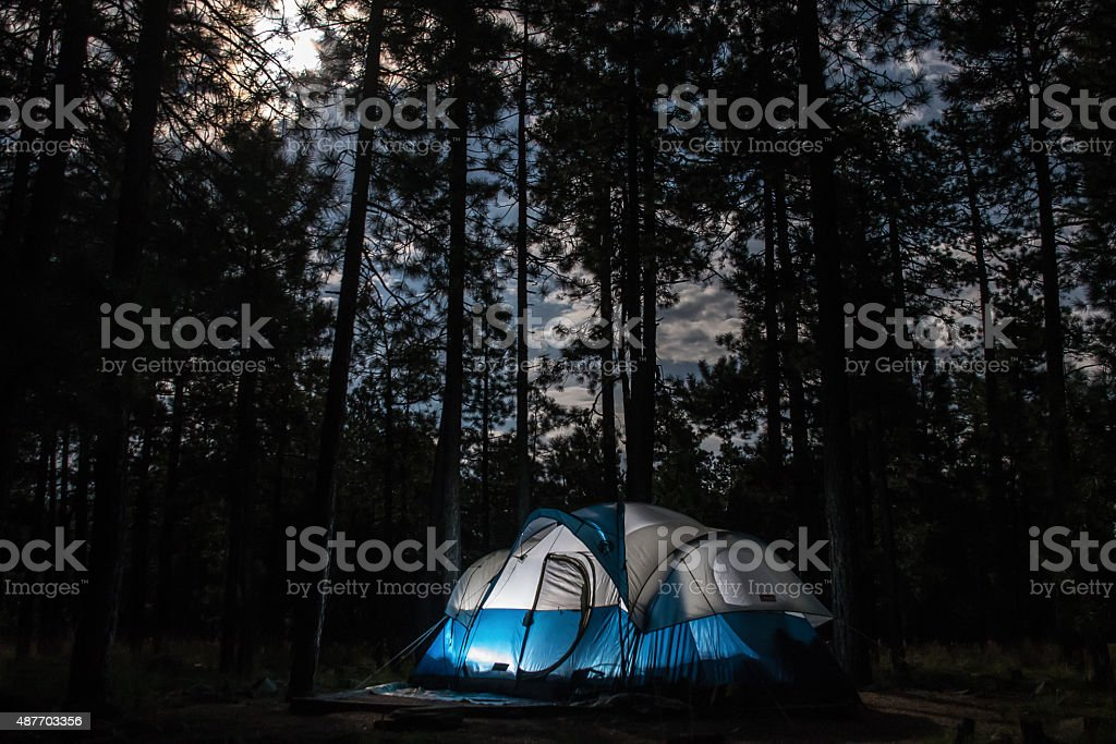 Camping with Full Moon stock photo