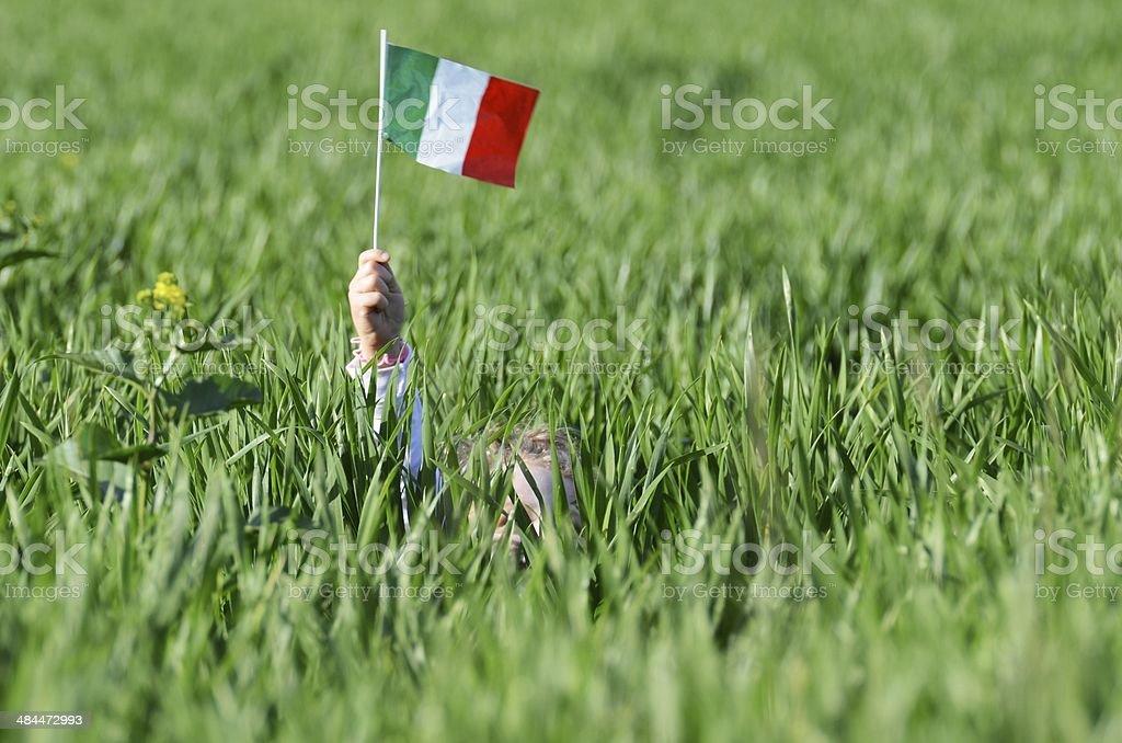 Campo di grano con bandiera italiana stock photo