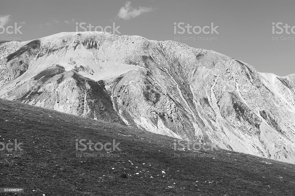 Campo Imperatore (Gran Sasso), Italy (black and white) stock photo
