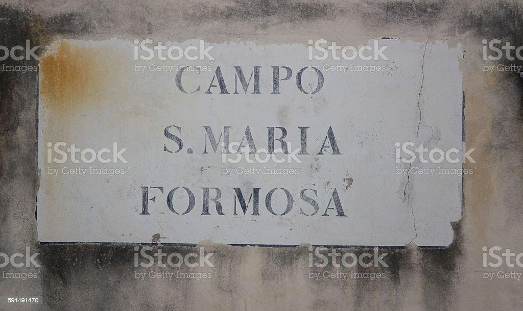 Campo Santa Maria Formosa street sign in Venice Lizenzfreies stock-foto