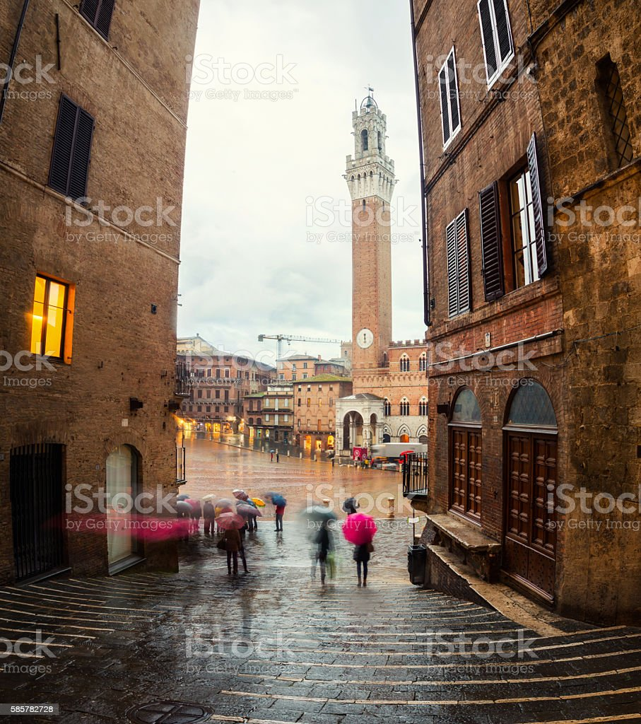 Campo Square with Mangia Tower in Siena stock photo