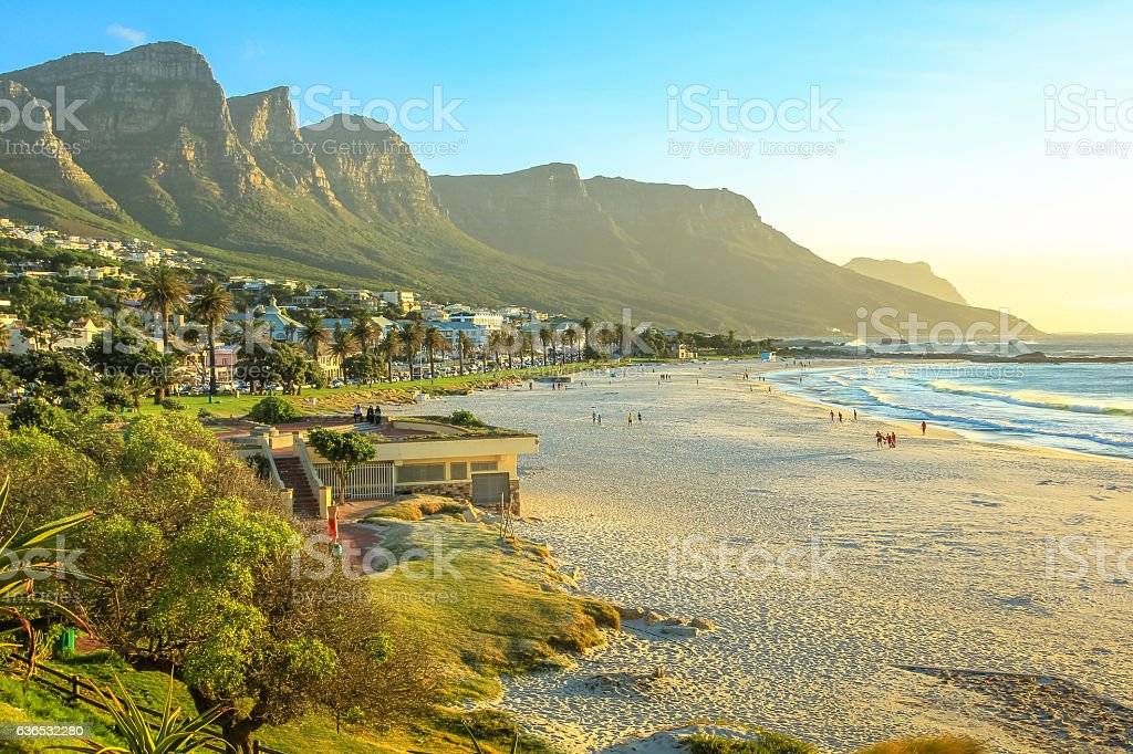 Camps Bay at sunset stock photo