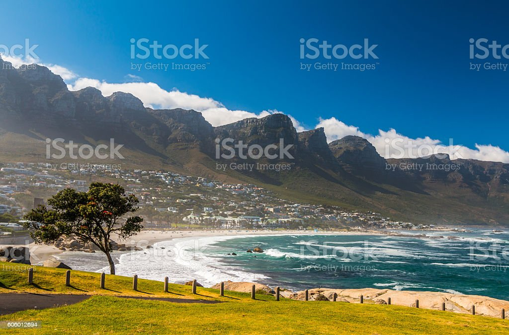 Camps Bay Beach in Cape Town South Africa stock photo