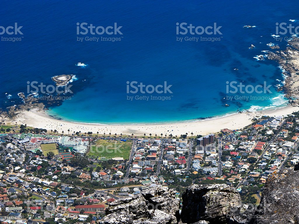 Camps Bay, Cape Town, seen from Table Mountain royalty-free stock photo