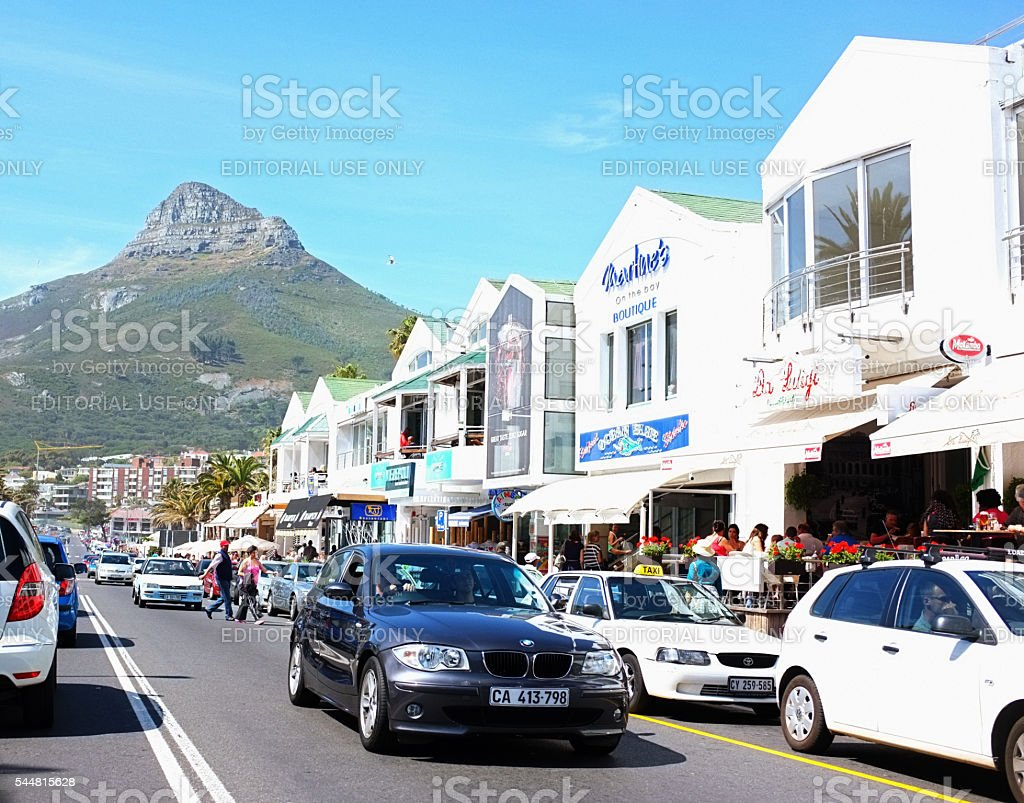 Camps Bay, Cape Town's wealthy seaside suburb, in high season stock photo