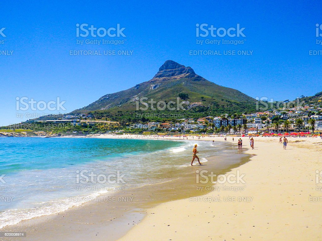 Camps Bay Lions Head Table Mountain Cape Town South Africa stock photo