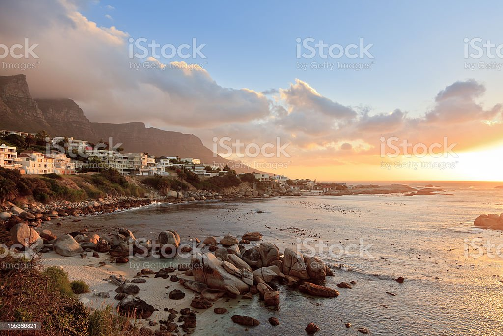 Camps Bay Sunset Scene Cape Town South Africa royalty-free stock photo