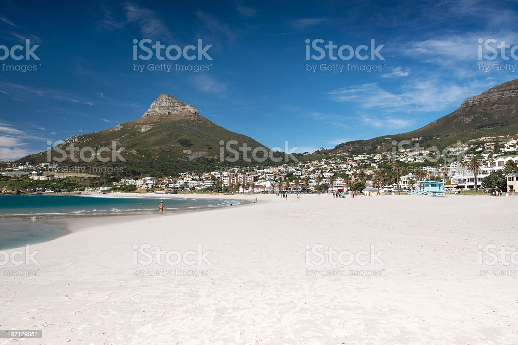 Camps Bay with Lion's Head and Table Mountain, Cape Town stock photo