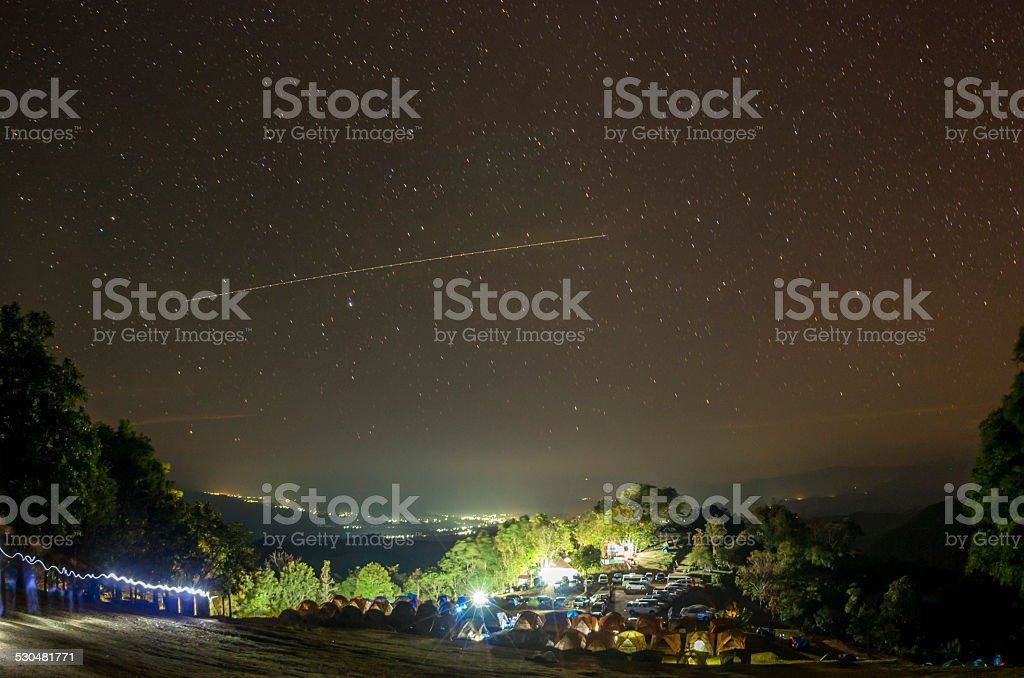 Campsite at night in Thailand stock photo