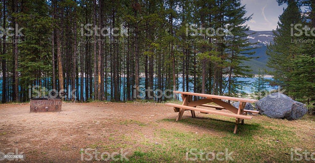 Campsite at Spray Lakes, near Canmore, Alberta. stock photo