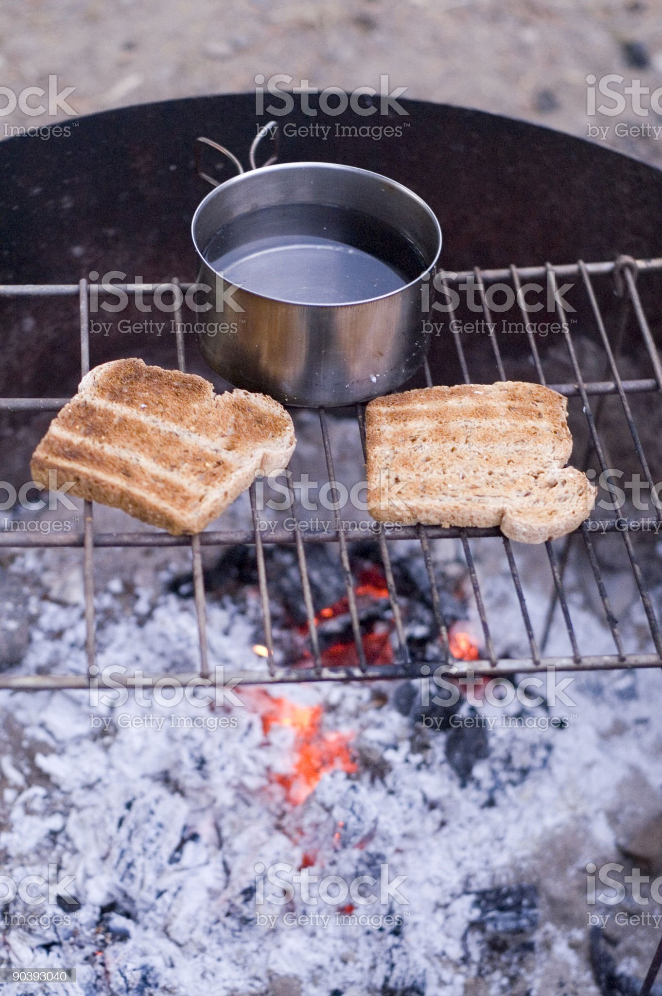 Campsite breakfast royalty-free stock photo