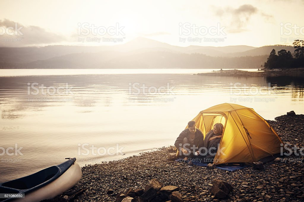 Campsite coffee time stock photo