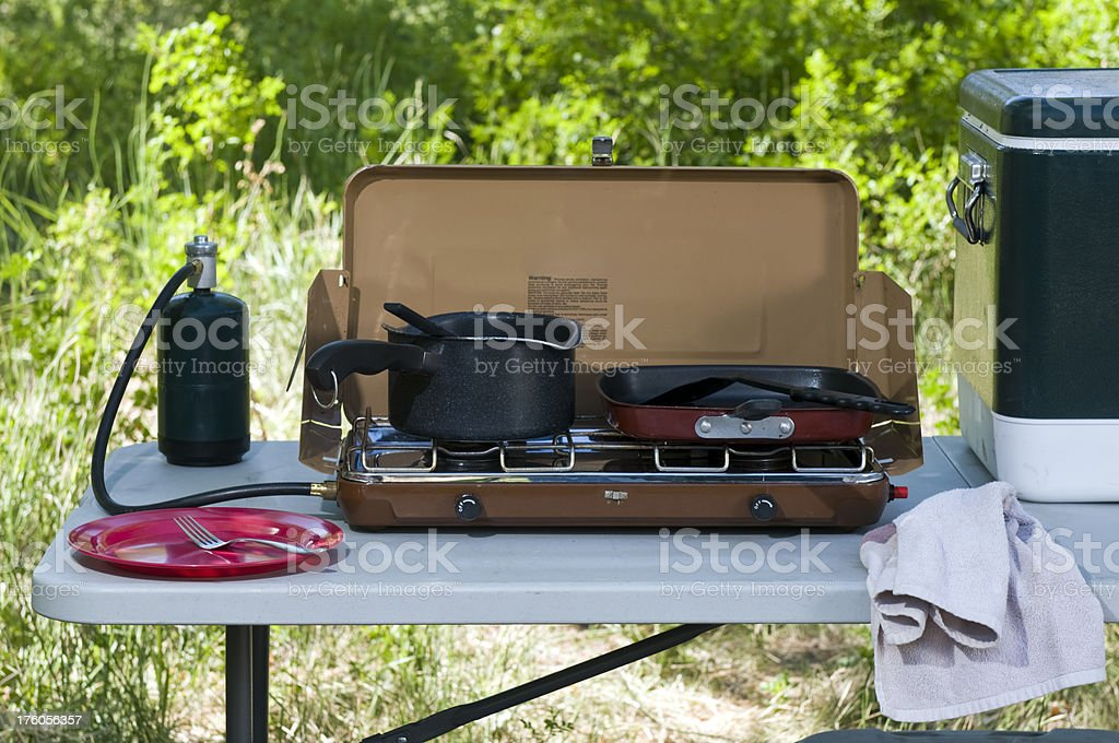 Campsite cooking royalty-free stock photo