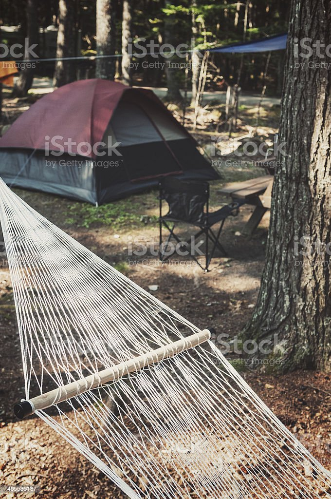Campsite Hammock stock photo