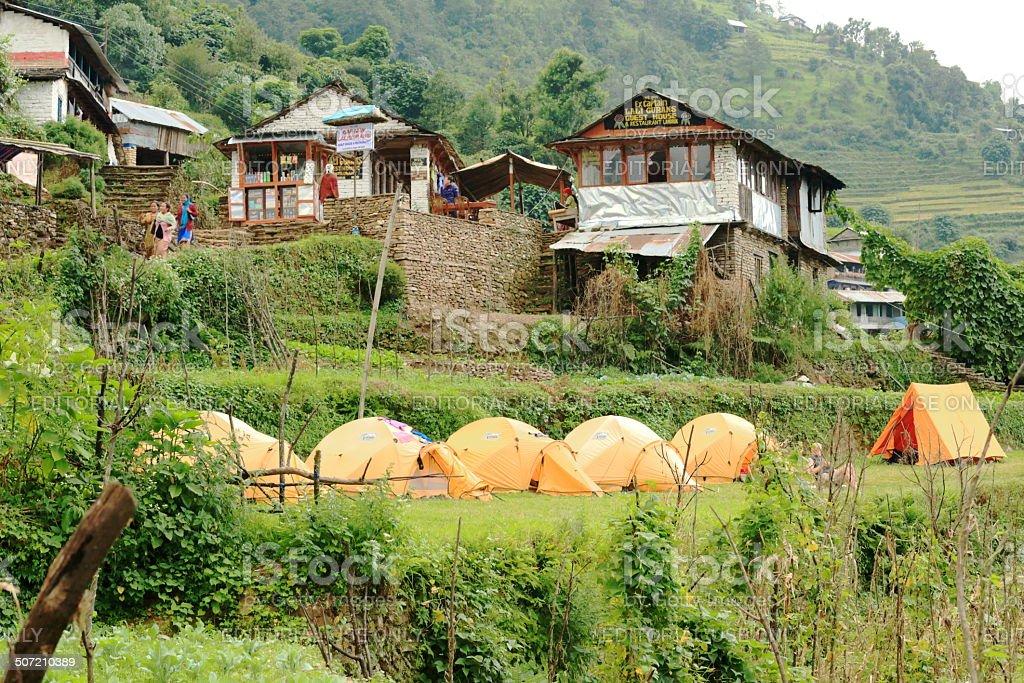 Campsite in Landruk-Nepal. 0575 royalty-free stock photo