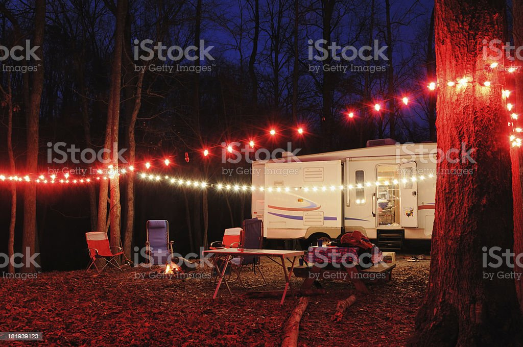 Campsite in the evening stock photo