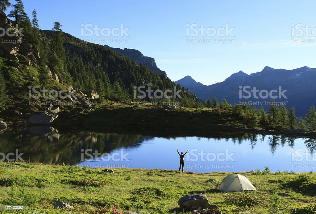 Campsite joy! stock photo