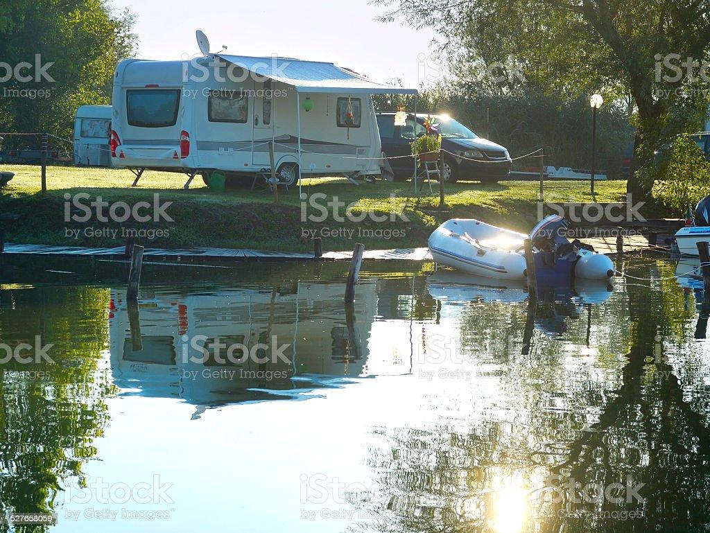 Campsite scene stock photo